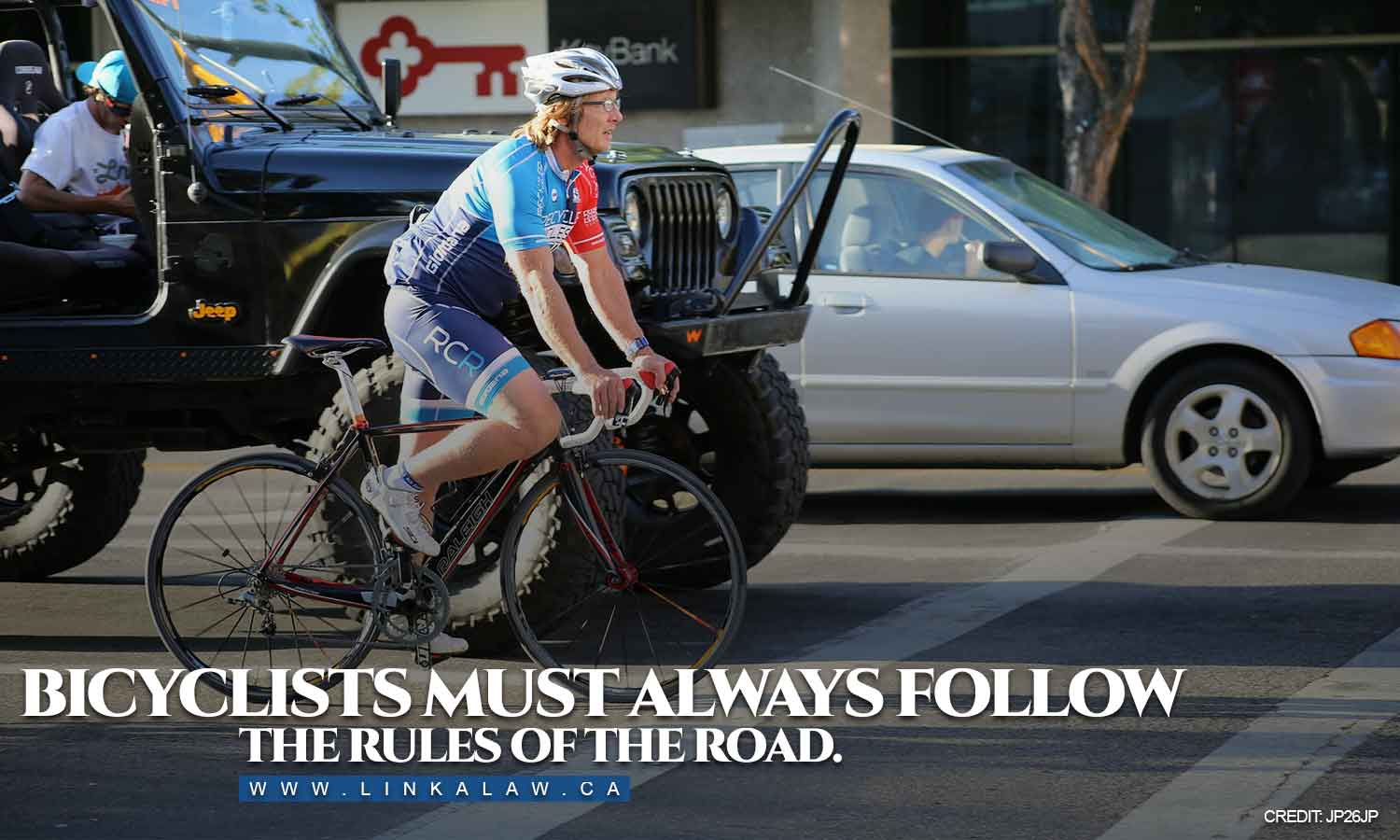 Bicyclists must always follow the rules of the road.