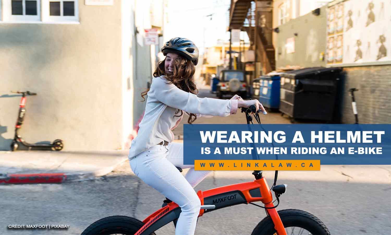 Wearing a helmet is a must when riding an e-bike